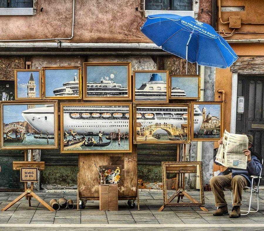 Obrázek BanksysiautoinvitaallaBiennaleconlasuaoperaVeniceinOil