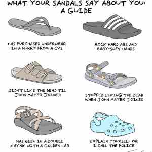 Obrázek 'What you sandals says about you'